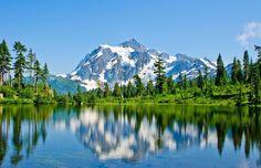Front view of Baker Lake Mount Shuksan Washington. [4753x3066]