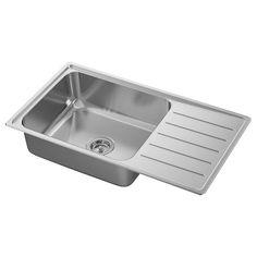 IKEA - VATTUDALEN, Lavello incasso, 1 vasca/sgocciolat, inox, 25 anni di garanzia. Scopri i termini e le condizioni nell'opuscolo della garanzia. Lo sgocciolatoio di questo lavello è inclinato per permettere all'acqua in eccesso di defluire nella vasca. Si può incollare sulla parte inferiore. Fitted Cabinets, Steel Seal, Inset Sink, Water Traps, Ikea Family, Sink Accessories, Polypropylene Plastic, Sound Absorbing, Stainless Steel Sinks