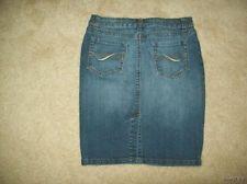 Womens ANA Blue Jean Skirt Size 8 Stretch Medium Wash Above Knee Back Slit