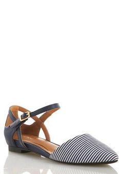 Cato Fashions Striped Slingback Flats #CatoFashions