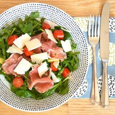 Italian inspired salad with creamy avocado and salty Parma ham tossed in a sweet balsamic dressing with shavings of Parmesan cheese.