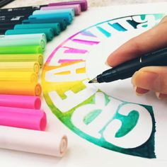 Bullet Journal Lettering Ideas, Bullet Journal Art, Bullet Journal Inspiration, Bullet Journals, Watercolor Hand Lettering, Hand Lettering Alphabet, Brush Lettering, Rainbow Crafts, Rainbow Art