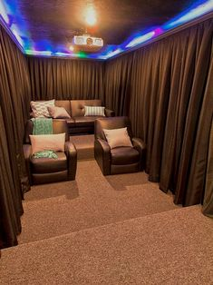 Soundproof curtains small home theater design ideas brown curtains leather arm ., Creating your own home theater room may be one of, Movie Theater Rooms, Home Cinema Room, Home Theater Setup, Home Theater Speakers, Home Theater Seating, Home Theater Design, Cinema Room Small, Attic Theater, Small Movie Room