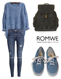 """""""ROMWE Knit Blue Sweater"""" by tania-alves ❤ liked on Polyvore featuring мода, H&M, Vans и Topshop"""
