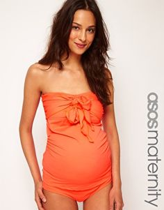 ASOS Maternity Exclusive Swimwear Tankini Top With Bow Front