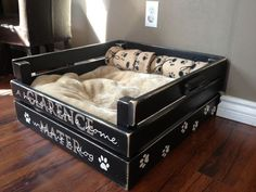 Dog bed made out of old crates.
