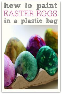 What a fun way to paint Easter eggs. You can use this as a preschool color mixing lesson too.