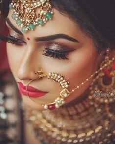 Bridal Makup, Bridal Makeup Images, Best Bridal Makeup, Indian Bridal Makeup, Bridal Makeup Looks, Indian Bridal Wear, Indian Wedding Bride, Elegant Wedding Hair, Bengali Wedding