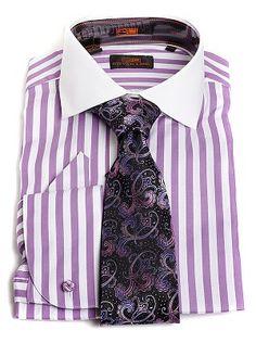 Regular Fit Lavender /& Orange Diagonal Striped French Cuff Cotton Dress Shirt