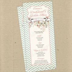 Birdcages, Birds, Chevron 2 - Custom Menu Card - Bridal, Baby Shower, Rehearsal Dinner, Engagement, Anniversary Party, Bridesmaids Luncheon