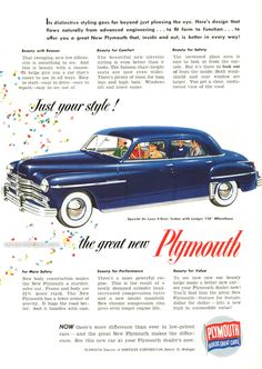 1949 Plymouth - Just your style! - Original Ad