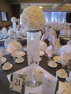 blue+white+silver+bling+wedding+decor | White Sparkle Wedding – Bling Centerpieces with White Rose Flower ...