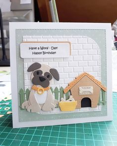 Dog Cards, Cards Diy, Paper Art, Paper Crafts, Marianne Design Cards, Birthday Cards, Happy Birthday, September 21, Cricut Cards