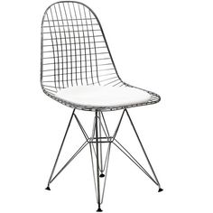 "Tennis anyone? This wire mesh and vinyl cushion chair is actually very comfortable and sure to draw the eye. - Indoor/ Outdoor - Chromed Steel Base 18""w x 17""d"