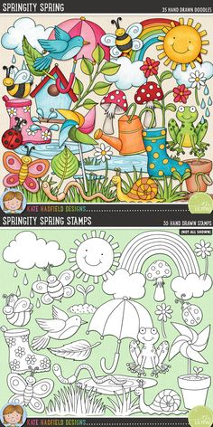 Springtime digital scrapbooking elements | Cute sping clip art | Hand-drawn illustrations for digital scrapbooking, crafting and teaching resources from Kate Hadfield Designs!