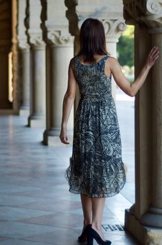 Smocked Silk Georgette dress in HandBatik