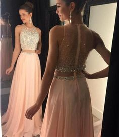 Two Pieces Prom Dress, Sleeveless Prom Dress, Chiffon Prom Dress, Blush Prom Dress, Prom Dress A-Line Prom Dresses 2019 Prom Dresses Two Piece, Cheap Homecoming Dresses, Unique Prom Dresses, Prom Dresses 2018, Cheap Evening Dresses, Elegant Dresses, Sexy Dresses, Dress Prom, Prom Gowns