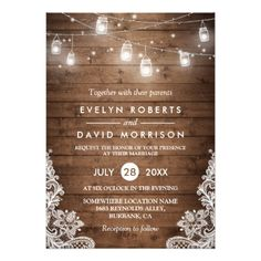 Rustic Wood Mason Jars String Lights Lace Wedding Invitation Mason Jar wedding invitations and rustic wedding stationery. Mason Jar Wedding Invitations, Country Wedding Invitations, Lace Wedding Invitations, Engagement Party Invitations, Rustic Invitations, Wedding Invitation Templates, Wedding Cards, Shower Invitations, Invitations Online