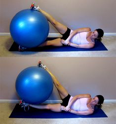 Side-Leg Lifts w/ Stability Ball: Lie on your side on the floor with your arms crossed in front of your body. If this is uncomfortable, bend your bottom elbow and rest your head on your hand. Place a large exercise ball in between your feet and slowly lift the ball up toward the ceiling using only your hips and butt. Return to the start position. This counts as 1 rep. Complete 3 sets of 15 reps.