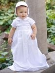 Style: LMason Short sleeve weaved cotton collared romper Irremovable bowDetachable (buttons) cotton gown, back splitBack