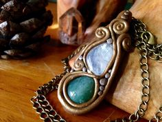 Green aventurine and rainbow moonstone polymer clay stone Crystal necklace pendant on Etsy, $39.00