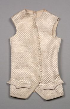 Winter waistcoat, c. Beige silk satin quilted in small diamond pattern and embroidered at edges with twined meander pattern, self buttons. 18th Century Dress, 18th Century Clothing, 18th Century Fashion, 19th Century, Rococo Dress, Waistcoat Men, Historical Clothing, Men's Clothing, Period Outfit