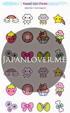 FREE printable kawaii icons and stickers