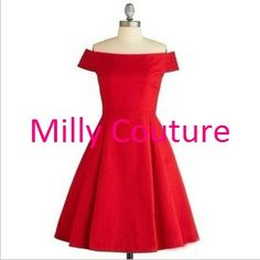 Red vintage bridesmaid dress off the shoulder by MillyCouture, $99.00