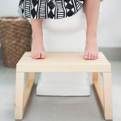 The perfect and simple DIY for a stylish wooden stool perfect for potty training toddlers.