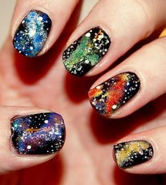 My daughter would like this: blue, color, galaxy, green, nail polish Get Nails, Fancy Nails, How To Do Nails, Pretty Nails, Hair And Nails, Cosmic Nails, Galaxy Nails, Nail Polish Designs, Cool Nail Designs
