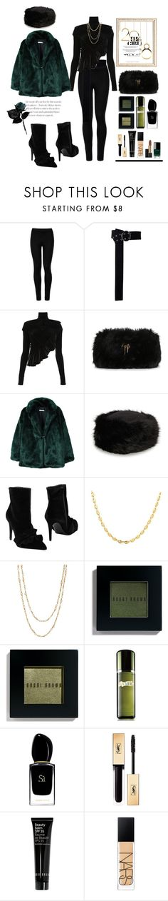 """29.12.17"" by caglatersak ❤ liked on Polyvore featuring Wolford, Y/Project, Giuseppe Zanotti, MANGO, 8, Gucci, Samira 13, Bobbi Brown Cosmetics, La Mer and Giorgio Armani"