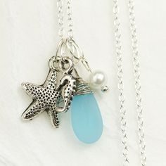 Beach Necklace with Sea Glass & Starfish Charm, Beach Wedding Jewelry, Bridesmaid Gift, Handmade Everyday Summer Necklace, Ocean Inspired