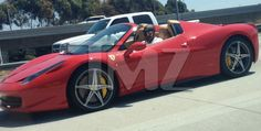 Kobe Bryant in his Ferrari 458 Italia