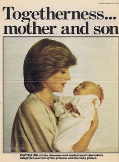 Princess Diana of Wales with her son Prince William Arthur Philip Louis of Wales born June 21, 1982.