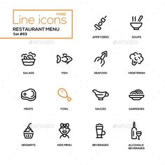 Restaurant menu ¨C line design icons set. High quality black pictograms. Appetizers, soups, salad, seafood, fish, vegetarian, meat,