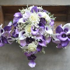 Calla Lilies Wedding Package-Picasso Purple Calla Lilies Silk   Etsy Lilac Bouquet, Purple Wedding Bouquets, Rose Wedding Bouquet, Wedding Bridesmaids, Wedding Dresses, Lilac Wedding Flowers, Cascading Bridal Bouquets, Bridesmaid Bouquets, Flower Bouquets