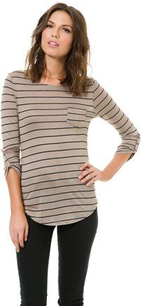 SWELL PACIFIC STRIPED POCKET LS TEE