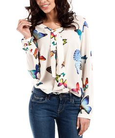 Look at this Ecru Butterfly Tie-Front Blouse on #zulily today!