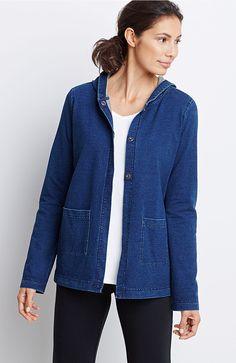 Pure Jill indigo knit snap-front jacket
