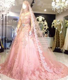 33 ideas for dress ball pink Muslim Gown, Muslim Wedding Gown, Muslimah Wedding Dress, Asian Wedding Dress, Muslim Wedding Dresses, Perfect Wedding Dress, Bridal Dresses, Ball Dresses, Ball Gowns