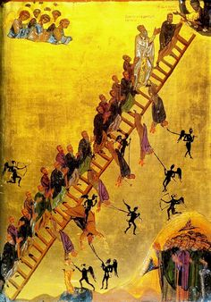 """Resource page about all the feasts/weeks of Great Lent - http://www.johnsanidopoulos.com/2011/03/great-lent-resource-page.html (12-century icon """"The Ladder of Divine Ascent,"""" Saint Catherine's Monastery, Mount Sinai, Egypt, copy of Monk Saint John Climacus' 6th century work. Saint John Climacus based this icon on the biblical description of Jacob's ladder. He wanted to depict how difficult it is for people to follow Christ's ways without giving in to evil and stumbling.)"""
