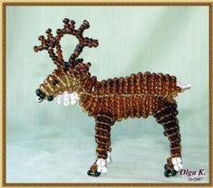 Лось Beading, Beadwork, Beaded Animals, Seed Beads, Diy Jewelry, Owl, Deco, Reindeer, Projects