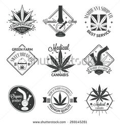 Set of medical marijuana logos. Cannabis badges, labels and logos for your shop design - stock vector