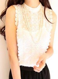 White Round Neck Sleeveless Lace Sheer Blouse