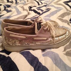 Silver Sequin Sperrys Top-Sider Bought these secondhand at Plato's Closet for $25, they are a bit worn but overall outside appearance still decent. All sequins are accounted for but some are bent a bit from storage. I wore them a few times, but they are to narrow for my foot. Size 8. Sperry Top-Sider Shoes