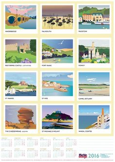 Pickle Design 2016 Calendar celebrating Cornwall in Vintage travel poster style! Art Deco Design, Retro Design, Vintage Designs, St Michael's Mount, Railway Posters, Graphic Design Studios, Vintage Travel Posters, Pickle