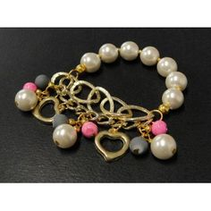 Pulsera de Moda con Perla, Turquesa y Cadena de Aluminio