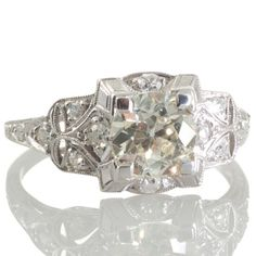 An original Art Deco 1.20ct diamond and platinum engagement ring. View our collection of antique, Art Deco, and modern diamond rings at www.rutherford.com.au