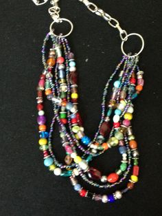 Glass bead soup necklace