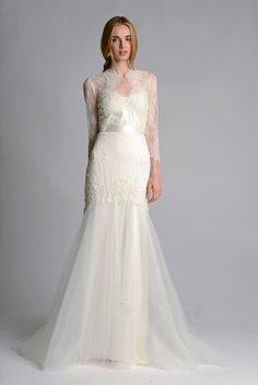 Marchesa 2014 fall/winter wedding dress long sleeves lace